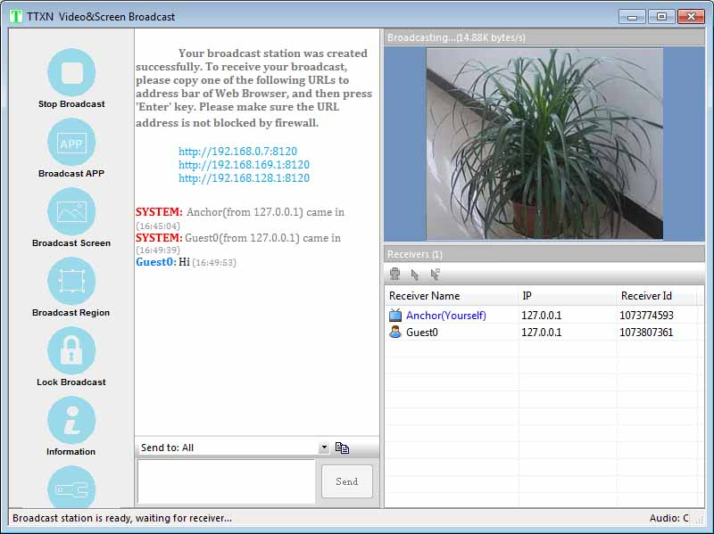 Screen and Video Broadcast Screen shot